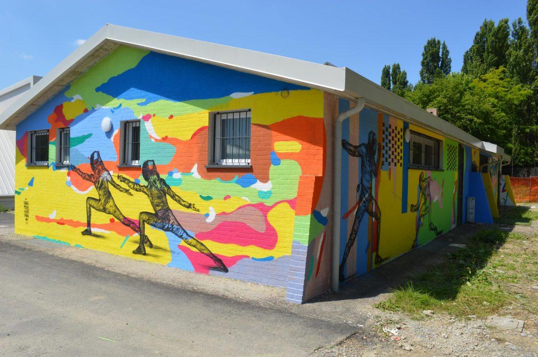 Scherma Bergamo restyling pittura murale
